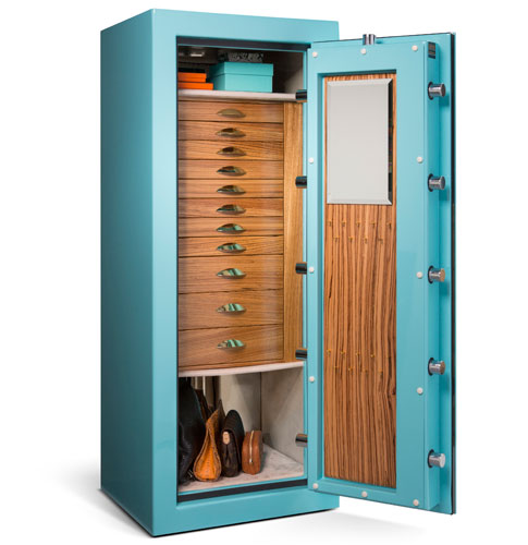 Emerald in Jewelry Box Blue with Zebra wood and Champagne microsuede