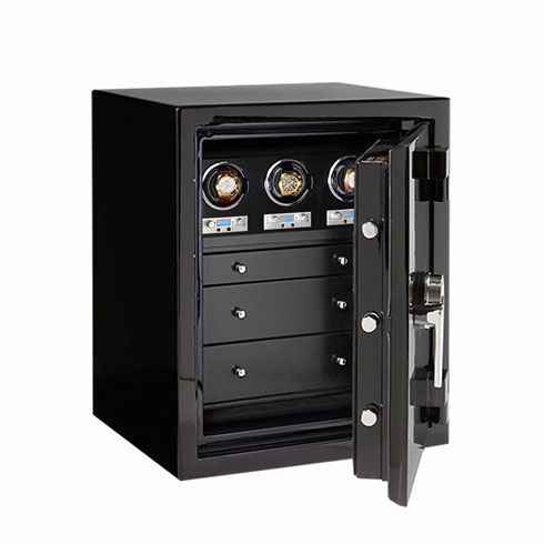 Sapphire in Onyx with Chrome, Blackwood, 3 Watch Winders